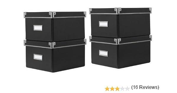 Ikea Cajas KASSETT de almacenaje de DVDs con tapa, negras (2 Packs de 2) - Total 4 Cajas - Para librerías Ikea BILLY / HEMNES / BESTA - 21 x 26 x