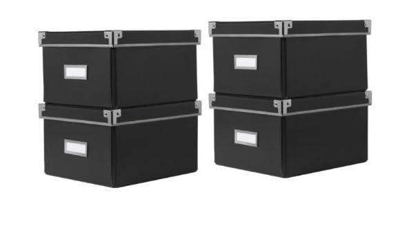 Ikea Cajas KASSETT de almacenaje de DVDs con tapa, negras (2 Packs de 2) - Total 4 Cajas - Para librerías Ikea BILLY / HEMNES / BESTA - 21 x 26 x ...