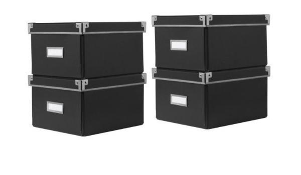 Ikea Cajas KASSETT de almacenaje de DVDs con tapa, negras (2 Packs de 2) - Total 4 Cajas - Para librerías Ikea BILLY / HEMNES / BESTA - 21 x 26 x 15 ...