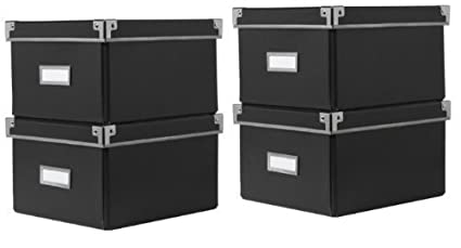 2 X Ikea Kassett Dvd Storage Boxes With Lid Black 2 Pack Total Of