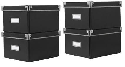 Ikea Cajas KASSETT de almacenaje de DVDs con tapa, negras (2 Packs de 2