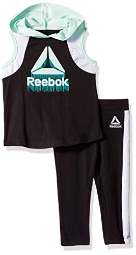 Reebok Girls' Big Hooded Athletic Tank Top and Pull-On Legging Set, Black, 8/10