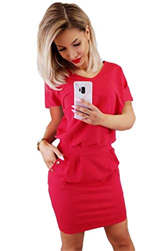Longwu Women's Short Sleeve Sheath Dress Bodycon Summer Mini Dress with Pockets Buttons Decorated Red-L