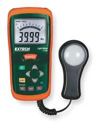 EXTECH 1AEV6 Light Meter, 0 To 20K Fc, 0 To 200K Lux