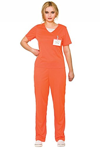Adult's Women's Orange Convict Prisoner Shirt & Trousers Fancy Dress Costume-Small ()