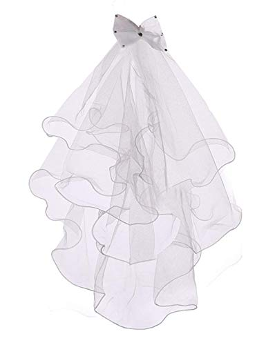 Flowers And Veil (Flower Girls White First Communion Veil Headband with Bow, White 02 (2)