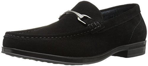 STACY ADAMS Men's Newcomb Moc Toe Bit Slip-on Penny Loafer, Black Suede, 11.5 M US