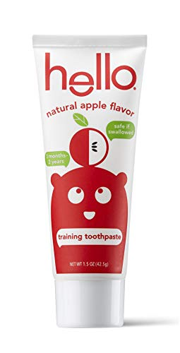 31mnvSKTy8L - Hello Fluoride Free Training Toothpaste For Toddlers + Kids, 4 Count | Natural Apple Flavor, Safe To Swallow