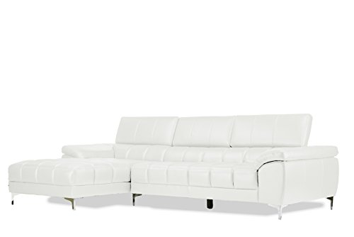 Baxton Studio Sosegado Leather Sectional Sofa with Right Facing Chaise, White For Sale