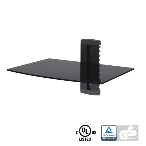 Aluminum/Tempered Glass DVD Mount Single Deck Black DVD211