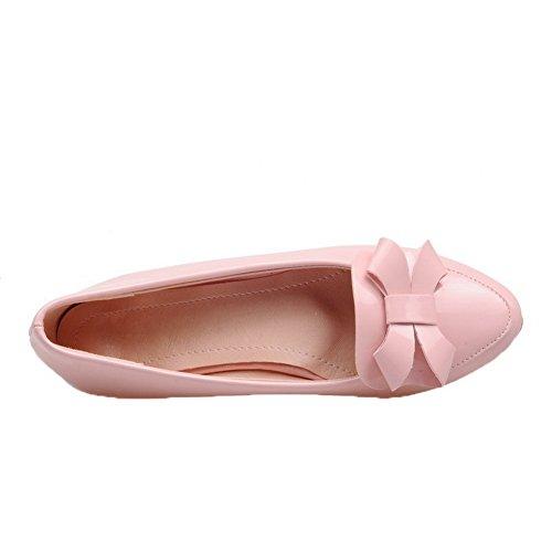 ... Allhqfashion Womens Trekke På Lave Hæler Patent Lær Round-toe Pumper-sko  Rosa ...