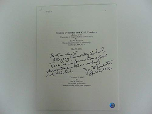 """System Dynamics"" Jay Forrester Hand Signed Lecture Todd Mueller COA from Unknown"