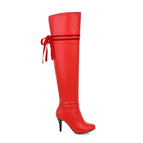 Knee Back Boots Lace Red Womens Leather Pointed toe Patent AIWEIYi High up wS8qXAvvW