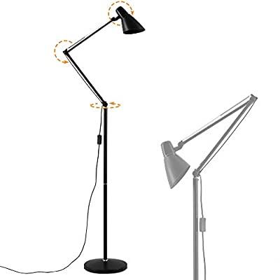 Standing lamp with Swing Arm,LED Bulbs can be Replaced, Energy Saving,Reading Floor Lamp with Adjustable Gooseneck for Living Room,Bedroom,Study Room and Ofice
