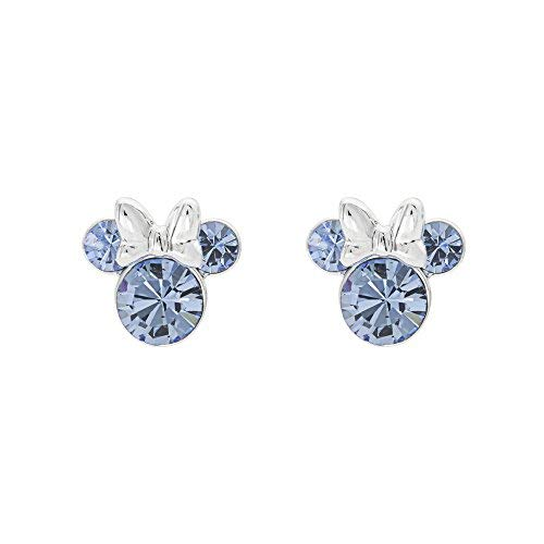 Disney Minnie Mouse Birthstone Jewelry, Silver Plated Crystal Stud Earrings for Women and Girls (More Colors Available) (December-Light Sapphire Crystal) (Baby December Birthstone Earrings)