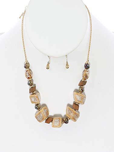 Fashion Jewelry ~ Natural Color Beige Acrylic Stone Finish Ceramic Bib Necklace and Earring Set for Women - Set Ceramic Earrings