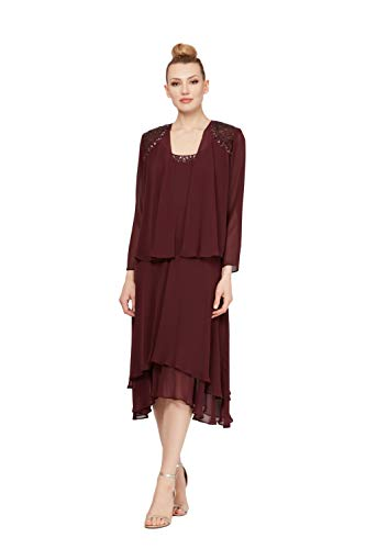 Embellished Dresses Clearance (S.L. Fashions Women's Embellished Chiffon Tiered Jacket Dress, fig,)