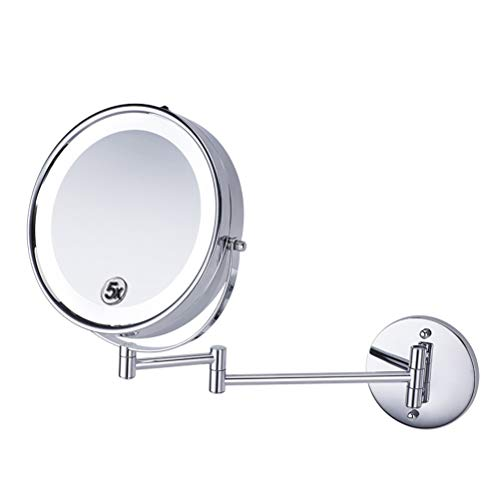 Makeup Mirror 8-Inch LED Double-Sided 5X Magnifying Hotel Bathroom Foldable 360-Degree Rotating -