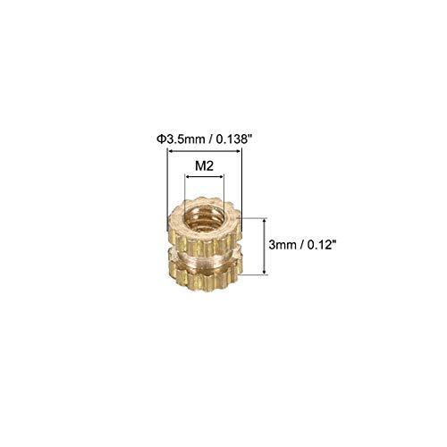 uxcell Knurled Insert Nuts L M2.5 x 8mm 100 Pcs OD Female Thread Brass Embedment Assortment Kit x 3.5mm