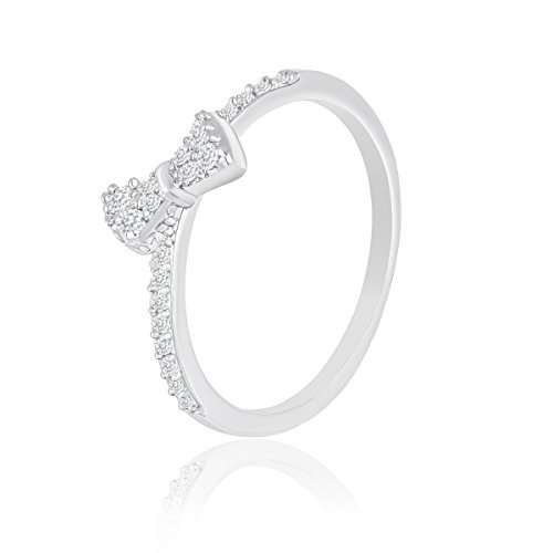 18k White Gold Plated Cubic Zirconia Bow Ring by Orrous & Co. (5)