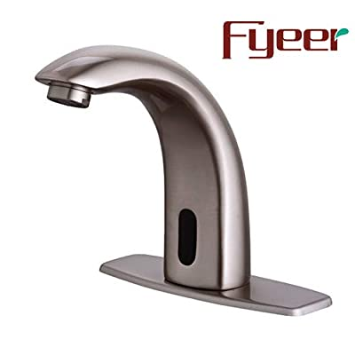 Fyeer Automatic Touchless Sensor Bathroom Faucet, Motion Activated Hands Free Kitchen Sink Tap with Hole Cover Deck Plate, Battery Operated