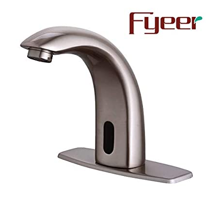 Fyeer Automatic Touchless Sensor Bathroom Faucet, Motion Activated Hands  Free Kitchen Sink Tap with Hole Cover Deck Plate, Battery Operated, Brushed  ...