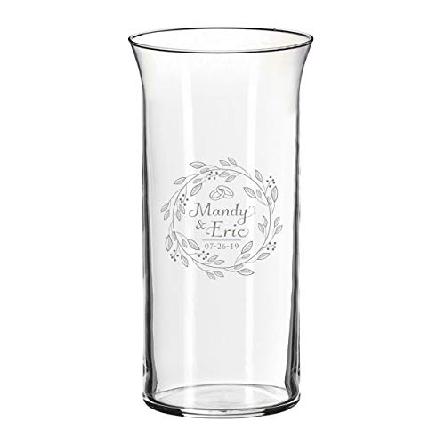 Monogrammed Center Piece Flower Vase for Weddings, Anniversaries, Couples, Engagements - Custom Etched for Free -