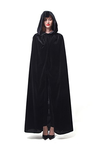 [Nuoqi Mens Unisex Halloween Costume Adults Cosplay Black Cape GC44A-L] (Black Men Halloween Costumes)