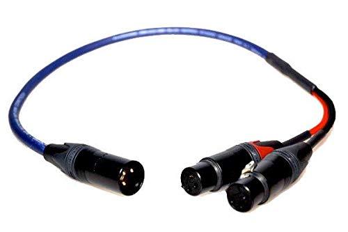 - Professional Handmade Heavy Duty Studio Stage Interconnect Y Splitter Lead Neutrik NC3MXX-B 3-Pin XLR Male to 2x Neutrik NC3FXX-B 3-Pin XLR Female (Balanced) Van Damme Cable [6m]