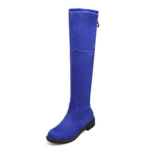 COOLCEPT Damen Mode-Even Fransen Runde Zehe Flach über kniehohe Stiefel Blau