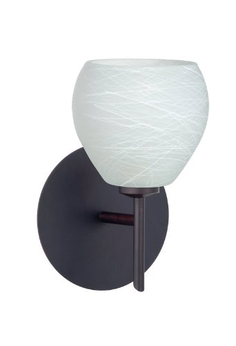 Besa Lighting 1SW-560560-BR 1X40W G9 Tay Tay Wall Sconce with Cocoon Glass, Bronze Finish - 560560 Br Cocoon