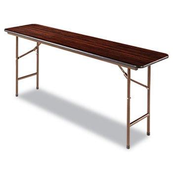 Alera FT727218WA Wood Look Folding Table, Rectangular, 72w X 18d X 29h, Walnut