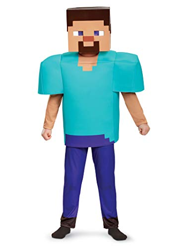 Minecraft Steve Costume For Halloween (Steve Deluxe Minecraft Costume, Multicolor, Medium)