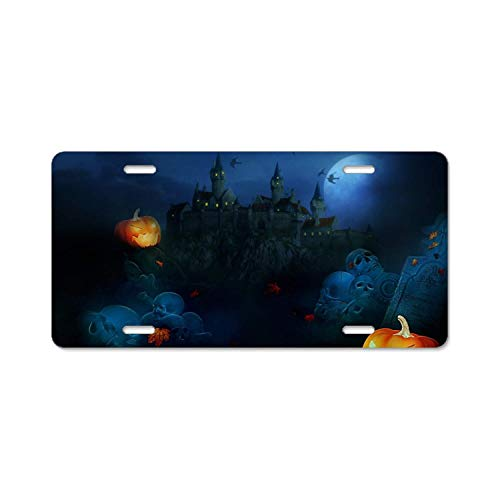 YEX Abstract Holiday Halloween Castle Jack-o-lantern8 License Plate Frame Car Licence Plate Covers Auto Tag Holder 6