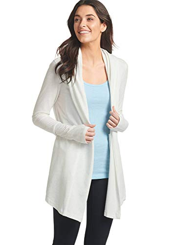 (Jockey Women's Tops Open Hooded Cardigan, White Heather, L)