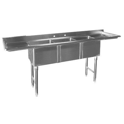 "ACE Economy 3 Compartment Stainless Steel Mini Sink with Left & Right Drainboards, 14"" BW x 10"" BL x 10"" BD, ETL Certified, SEE10143DB"