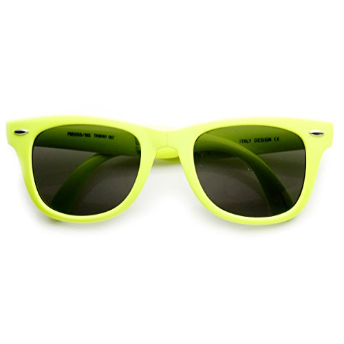 zeroUV - Bright Neon Colorful Compact Folding Pocket Horn Rimmed Sunglasses 50mm (Yellow - Sunglasses Neon Plastic