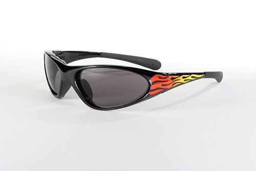 Blaze Wrap Around Sunglasses Smoke Tinted Lenses Flame Print - Flame Sunglasses