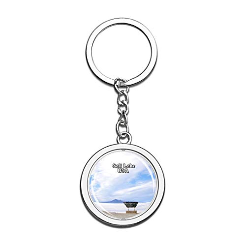 USA United States Keychain Great Salt Lake Key Chain 3D Crystal Spinning Round Stainless Steel Keychains Travel City Souvenirs Key Chain Ring