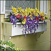 60'' Daisy PVC Window Box - No Rot w/ 3 Free Brackets by FlowerWindowBoxes.com
