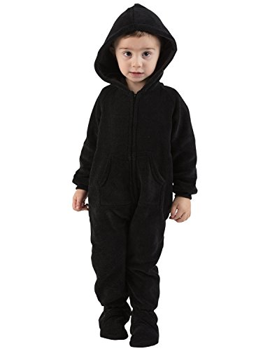 Footed Pajamas Jet Black Infant Hoodie Chenille - (Hooded Footed Pajamas)