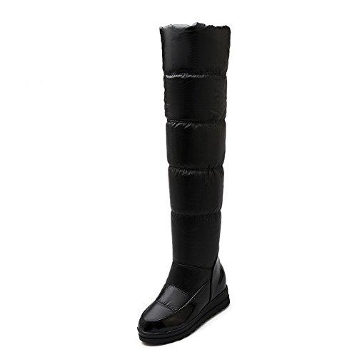 AdeeSu Girls Color Matching Thick Bottom Heel Platform Heighten Inside Patent Leather Boots Black pGF7RENNCd