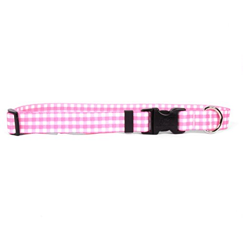 "Yellow Dog Design Gingham Pink Dog Collar 3/8"" Wide and Fits Neck 8 to 12"", X-Small"