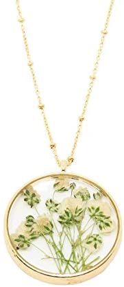 Baby Breath Necklace Real, Pressed Flower Necklace, Dried Flower Gift for Women, Gold-Plated 20&