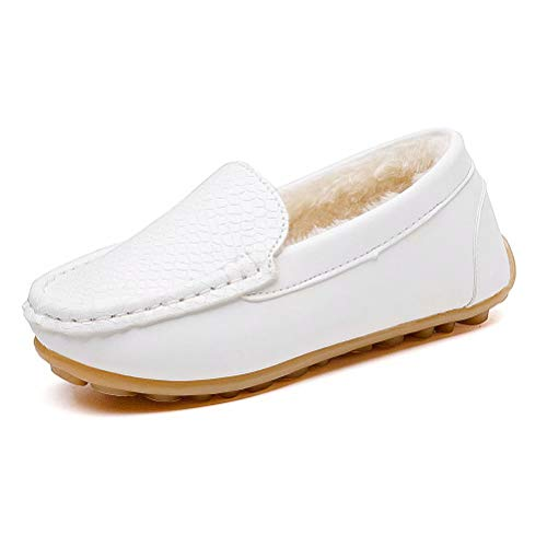 konhill Casual Loafers Shoes Boys Girls Plush Moccasin Slip on Slippers Boat-Dress Shoes/Sneaker/Flats, White, 29