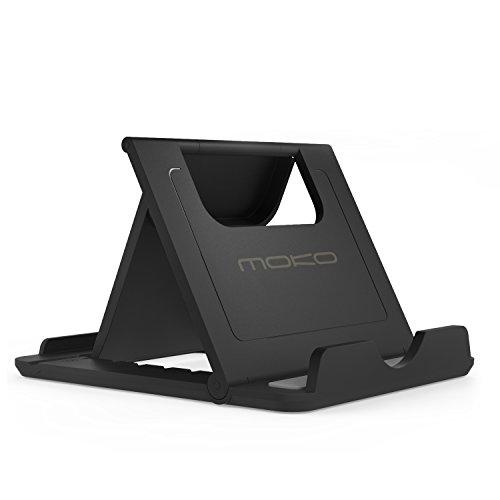 MoKo Handy / Tablet Ständer - Multi-Winkel Faltbar Gummi Desktop Halterung für 7-11 Zoll Tablet, Handy, E-Reader, Smartphone, iPhone, iPad, Samsung Galaxy Tab, S6 /S7/ S7 Edge, Huawei P8 Lite, Schwarz