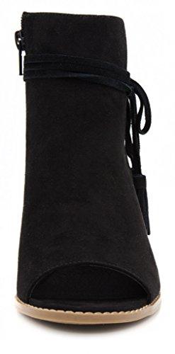 Mari Womens Alana A Toe Peep Boot Tasseled Black Ankle Bootie 66qZTc5rwW