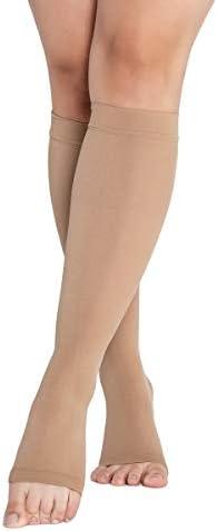 RIEMTEX® Medizinische abgestufte Kompressionsstrümpfe Klasse 2 CCL2 offene Spitze Kniestrümpfe nahtlos für Damen und Herren Beige (Grösse 1)