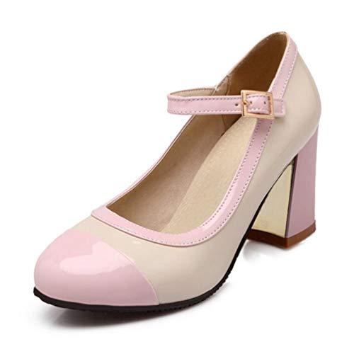 Couleur Pompes Rondes Hauts Chaussures Bureau Sangle Fminines pais Parti Talons Cheville Femmes De Rose Mixte FRaqPHBv