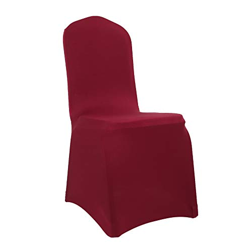 Burgundy Chair Cover - Spandex Dining Chair Cover Covers for Wedding Banquet (Burgundy)